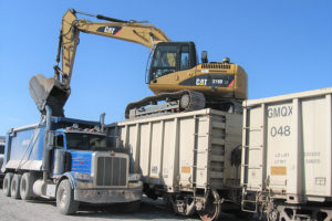 rail car unloading into truck at Pavlich Inc Kansas City Kansas