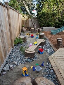 kids sand and gravel play area
