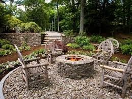 sand and gravel outdoor patio area